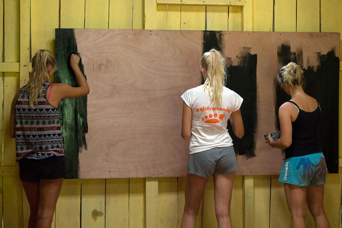 Volunteers Painting the New Board