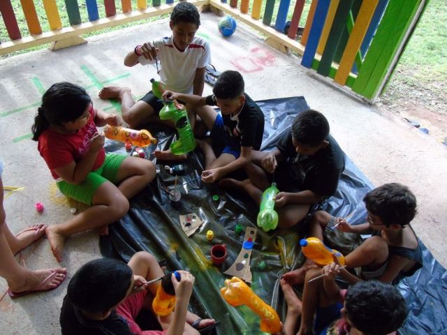 Kids Painting Recicled Flowerpots
